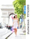 Paris Woman Shopping Walking O...