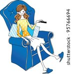 side view of woman sitting on...   Shutterstock .eps vector #95766694
