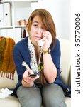 beautiful teen girl sad at home ... | Shutterstock . vector #95770006