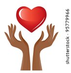 red heart and hands | Shutterstock . vector #95779966