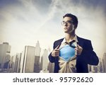 young businessman showing the... | Shutterstock . vector #95792620