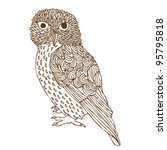 original hand drawing of owl ... | Shutterstock .eps vector #95795818