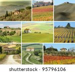 collage with tuscan houses in scenic  landscape - stock photo
