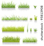 green grass set  illustration... | Shutterstock .eps vector #95813908