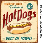 Vintage Hot Dogs Metal Sign  ...