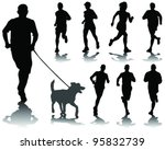 Stock vector running silhouettes with shadows vector 95832739