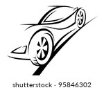 Silhouette of sport car for racing sports design - stock photo