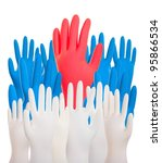 collage colorful hands. close...   Shutterstock . vector #95866534