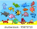 Cartoon fishes in the sea, vector illustration