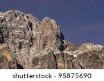 mountain rock in the night - stock photo