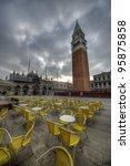 dark scene in San Marco square, Venice - stock photo