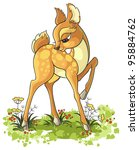 Stock vector cartoon young deer isolated on white background also available coloring book version 95884762