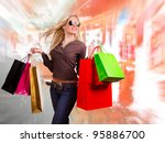 beautiful girl with shopping...