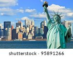 the statue of liberty and... | Shutterstock . vector #95891266