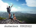 young happy backpackers on top... | Shutterstock . vector #95925322
