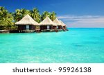 over water bungalows with steps ... | Shutterstock . vector #95926138