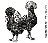 hen and cock  polish race  ... | Shutterstock .eps vector #95948794