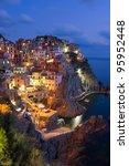 Manarola village at night, Cinque Terre, Italy - stock photo