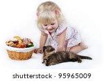 girl with a kitten | Shutterstock . vector #95965009