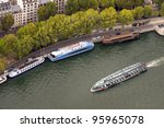 boat on Seine river, view from Eiffel tower, Paris - stock photo