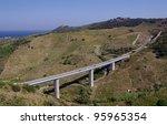 auto highway bridge in mountains, France - stock photo
