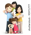 3d Render Of A Happy Family An...