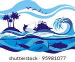 fishing on the high seas | Shutterstock .eps vector #95981077