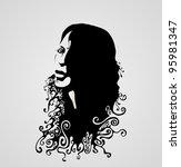 woman's retro face silhouette.... | Shutterstock .eps vector #95981347