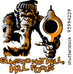 line art with a monkey and a gun | Shutterstock . vector #95994229