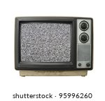 Beat up grungy old TV set with static screen. - stock photo