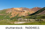 Colorful mountains in the San Juan Range along the Colorado Trail. - stock photo