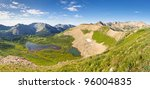 Panorama of San Juan Mountains scenery in Colorado. View of Taylor Lake from Indian Trail Ridge. - stock photo