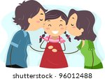 Illustration of Parents Kissing their Daughter - stock vector