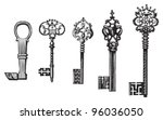 old key collection   vintage... | Shutterstock .eps vector #96036050
