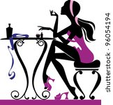 silhouette of girl a does make... | Shutterstock .eps vector #96054194
