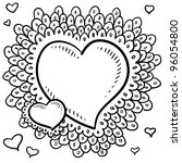 Doodle style Valentine's Day heart with elaborate border around the main icon and smaller hearts positioned in the art space in vector format - stock vector