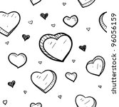 Doodle style Valentine's Day romantic heart seamless background that can be tiles in vector format - stock vector