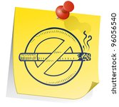 Doodle style nonsmoking symbol on yellow stick note in vector format. - stock vector