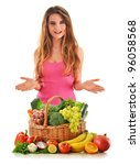 Young attractive woman with variety of fresh vegetables and fruits isolated on white - stock photo