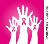 pink awareness ribbons over...   Shutterstock .eps vector #96061901