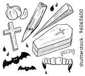 doodle style vampire lore set... | Shutterstock .eps vector #96065600