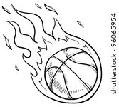Doodle style flaming basketball illustration in vector format - stock vector