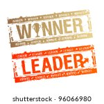winner and leader rubber stamps. | Shutterstock .eps vector #96066980