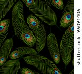 seamless texture with peacock... | Shutterstock .eps vector #96091406