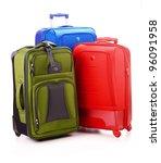 Luggage consisting of three large suitcases isolated on white - stock photo