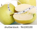 close up of green apples with... | Shutterstock . vector #96100100