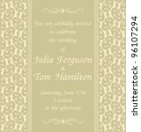 elegant wedding invitation... | Shutterstock . vector #96107294