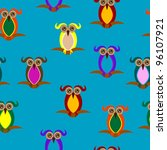 seamless pattern with owls on... | Shutterstock .eps vector #96107921