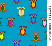 seamless pattern with owls on... | Shutterstock . vector #96111251
