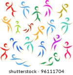 stylized people texture | Shutterstock .eps vector #96111704